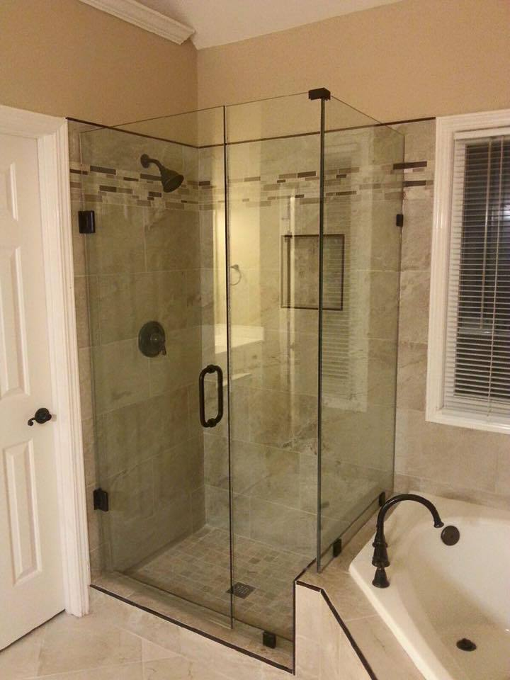 beutiful 3 piece frameless shower door enclosure in atlanta ga wall mounted door a full inline panel and a reurn panel